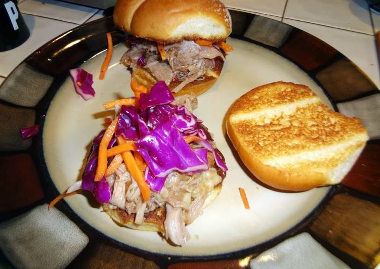 Crock pot pulled pork BBQ with red cabbage slaw
