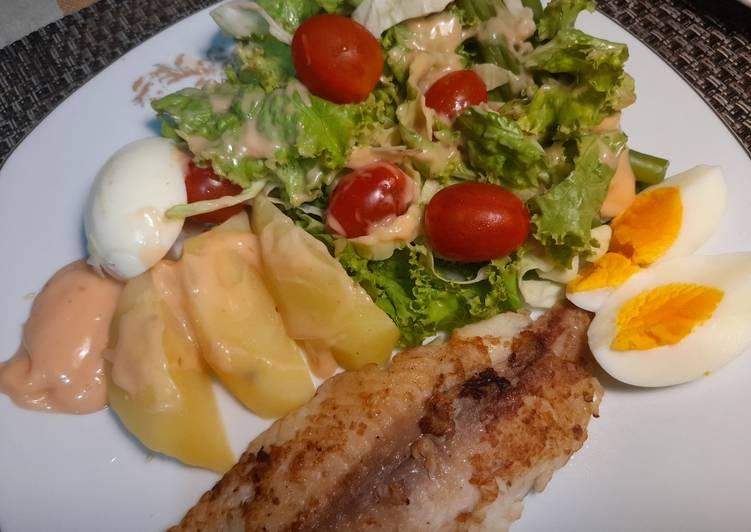 Ikan Dori Bakar Teflon + Salad