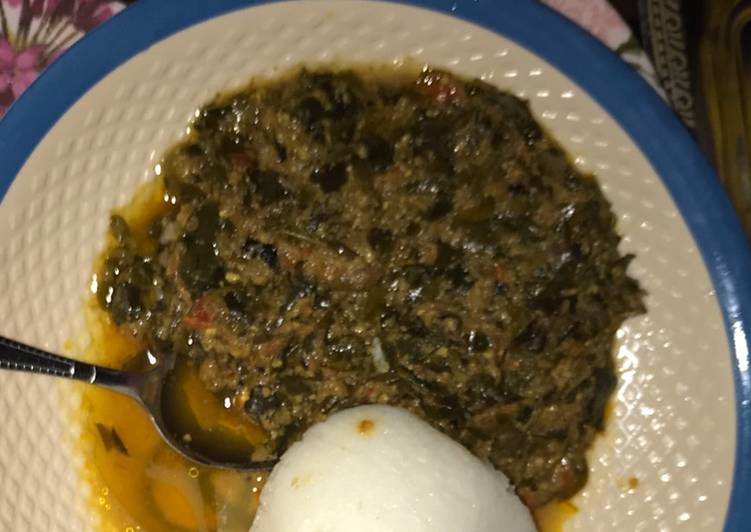 Tuwon shinkafa with moringa soup(miyan zogale)