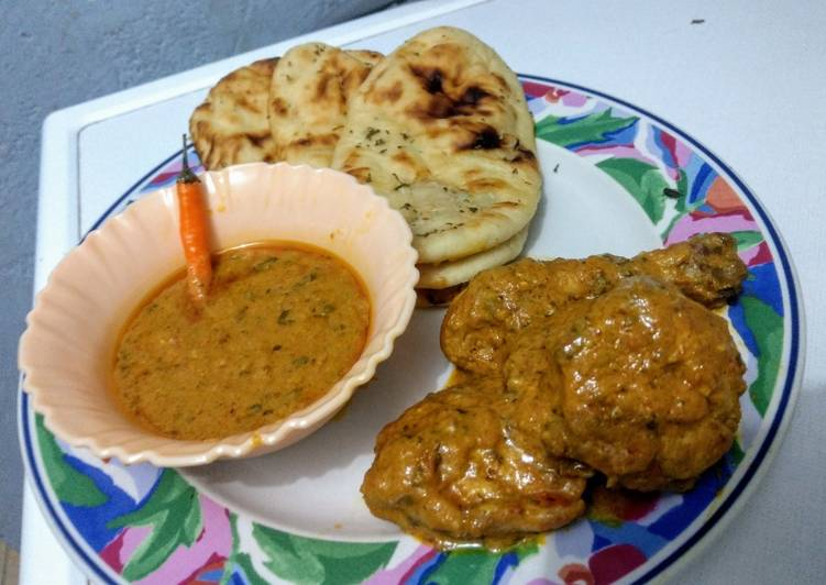 30 Minute Simple Way to Make Quick Buttered garlic naan & chicken curry