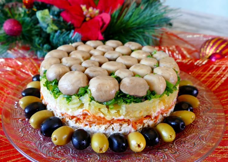 что наши салат грибное лукошко рецепт с фото как