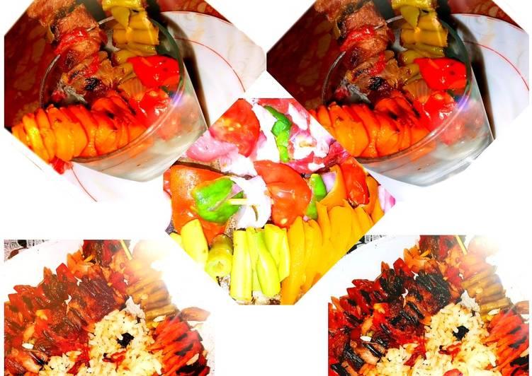 Les brochette de viande aux légumes à la panineuse