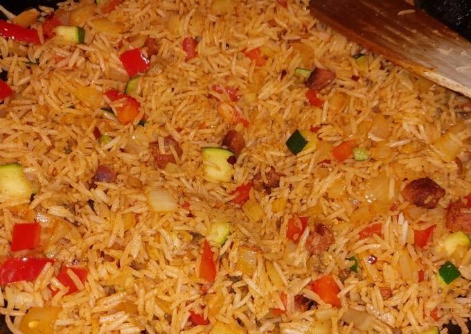 My chorizo veg rice