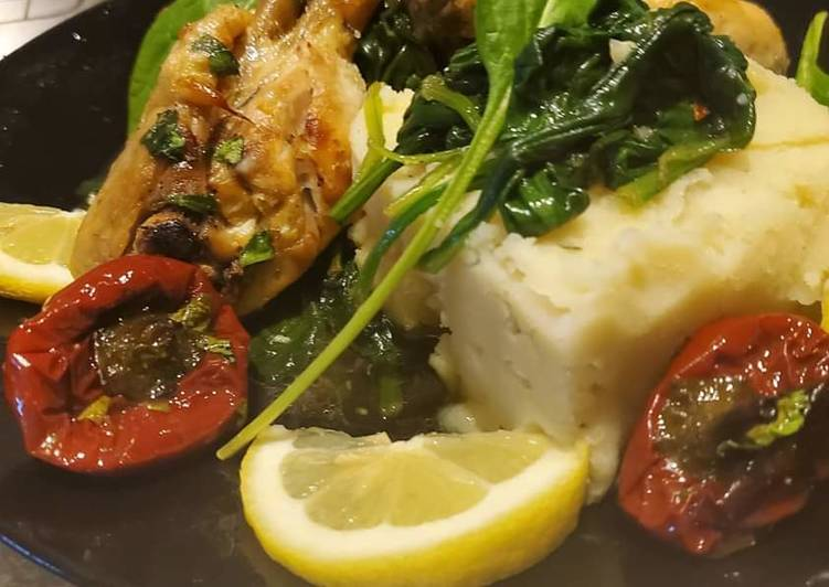 Spicy baked Lemon Chicken with Garlic Mashed & Sauteed Spinach