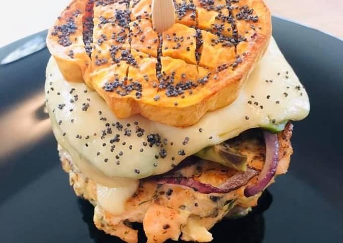 Burger Healthy à la Patate douce et Saumon