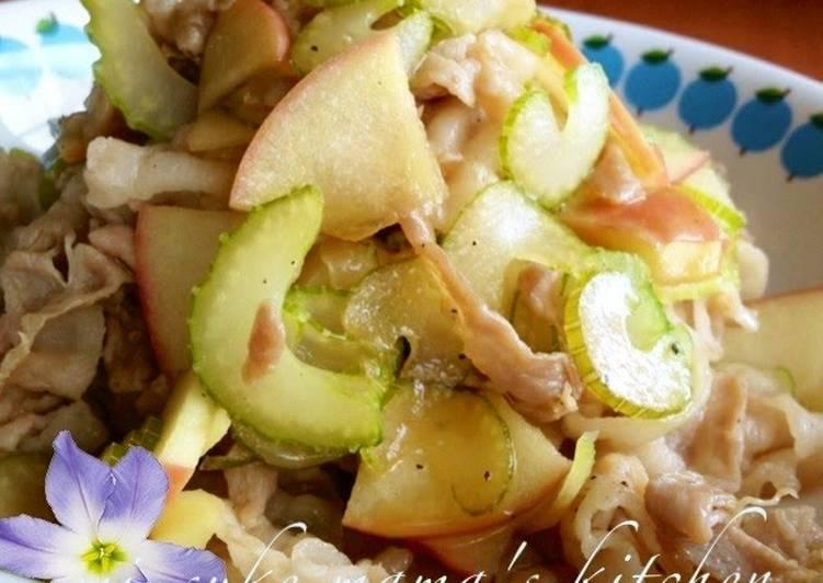 Recipe: Perfect Easy Pork, Apple, and Celery Sauté with Ponzu Sauce