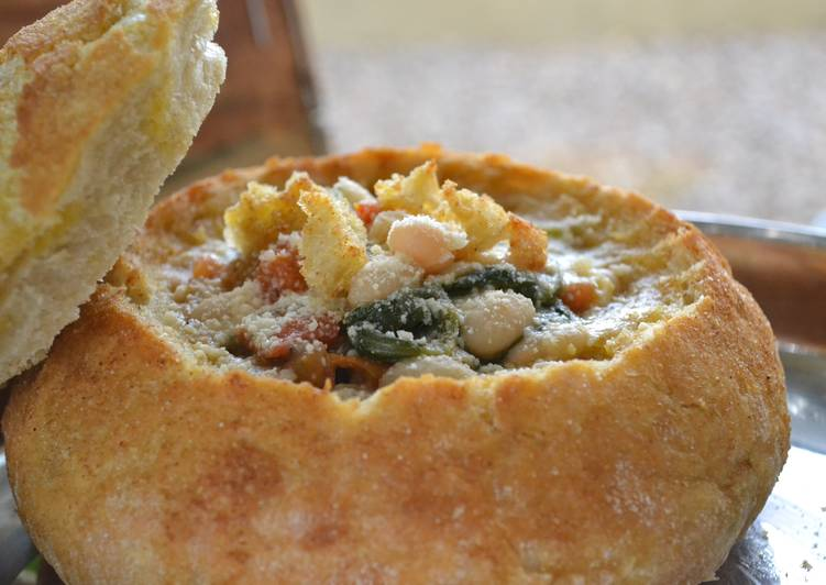 Creamy White Bean & Spinach Bread Bowls