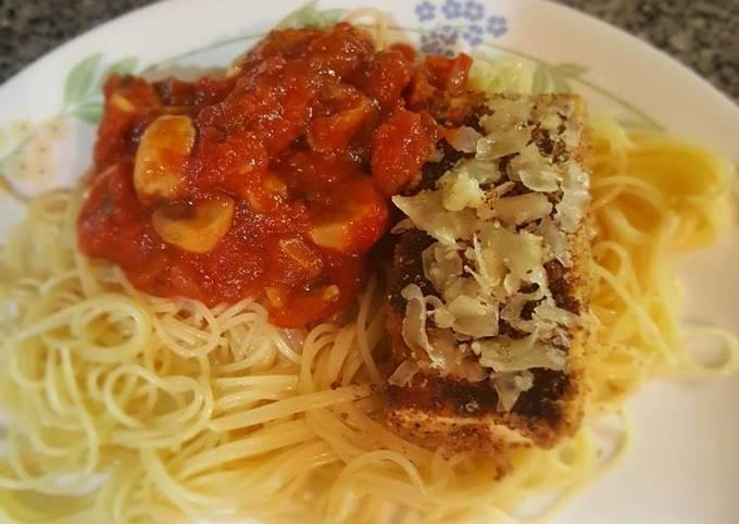 Recipe: Yummy Tofu parm with mushroom marinara sauce, angel hair pasta