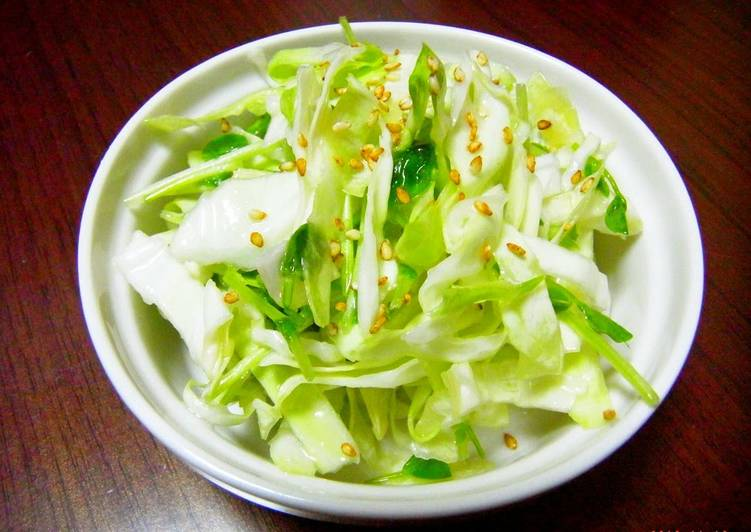 Recipe of Any-night-of-the-week Izakaya Style Shio-koji Salad with Pea Sprouts and Cabbage