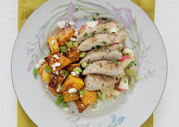 Chicken Breast with White Bean and Apple Salsa and Sautéed Butternut Squash and Feta