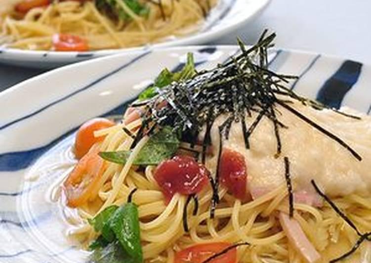 15 Minute Steps to Prepare Vegan Silky and Cold Nagaimo and Umeboshi Spaghetti