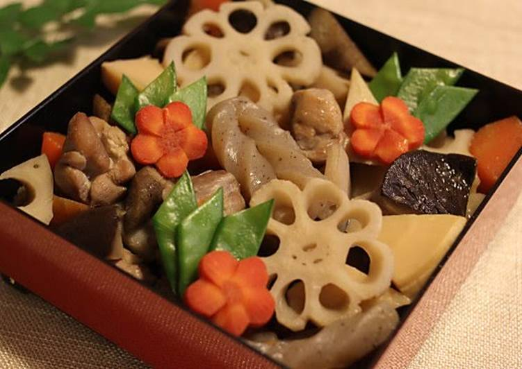 Steps to Prepare Any-night-of-the-week For Osechi! Cute & Extravagant With Decorative Vegetables - Chikuzen-ni