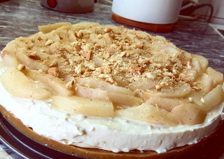 κύρια φωτογραφία συνταγής Cheesecake αχλάδι με στέβια