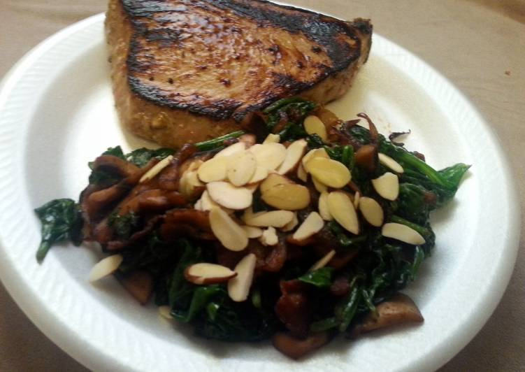 Paleo Seared tuna with citrus marinade and sauted spinach with mushrooms, onions, and bacon