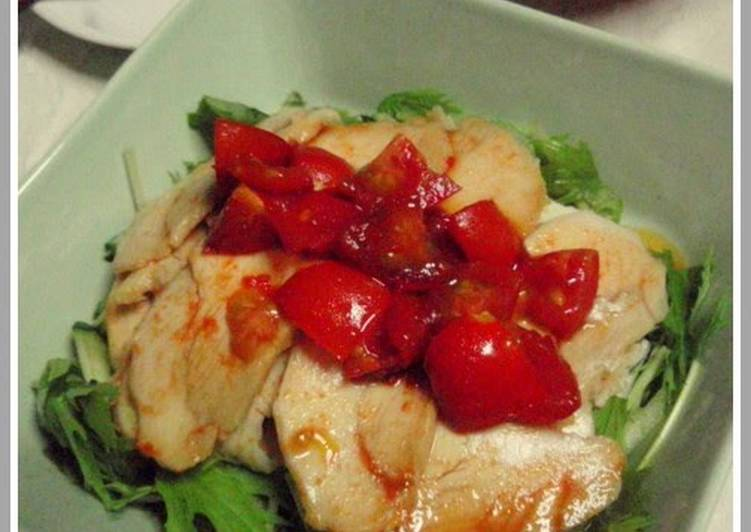 Recipe of Speedy Boiled Chicken with Spicy Hot Tomato Ponzu Sauce