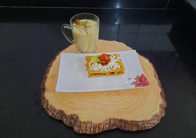 Easiest Way to Make Homemade Baked khakhra sandwich with almond milkshake