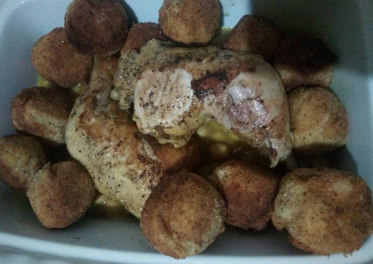 Poulet aux croquettes des pommes de terre