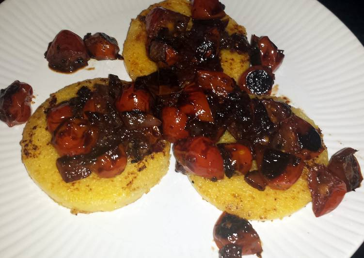 Polenta with balsamic blistered tomatoes