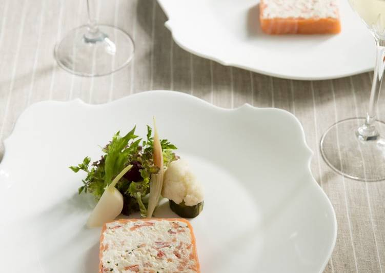 Steps to Prepare Quick Easy Smoked Salmon and Crab Terrine