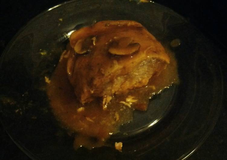 Golden mushroom pork roast