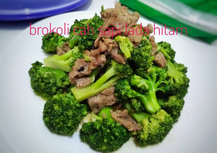 Resep Brokoli cah sapi lada hitam #rabubaru #tips daging tidak alot Super Lezat