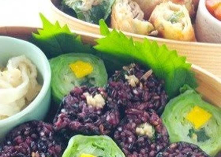 Black Rice Futomaki Rolls with Wasabi Stems
