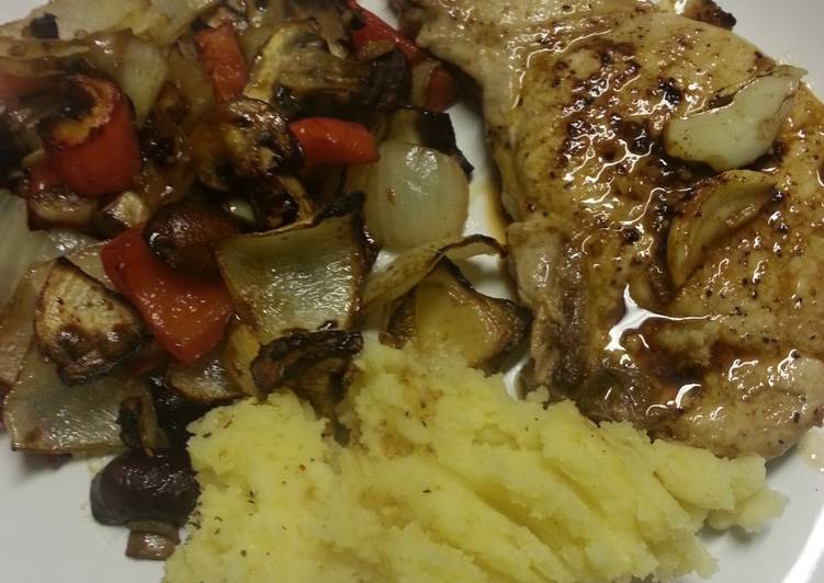 Pork chop, mashed potato and roasted veg