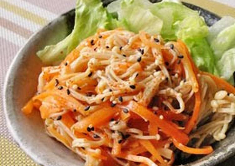 How to Cook Perfect Chinese-style Salad with Carrot and Enoki Mushrooms