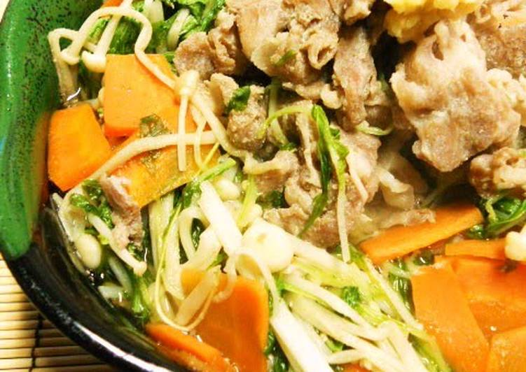 Going Green for Greater Health By Eating Superfoods, Quick Simmered Shabu-Shabu Pork and Mizuna Greens