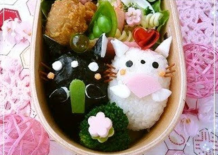 Recipe of Most Popular Bento with Twin Kitty Hina Dolls