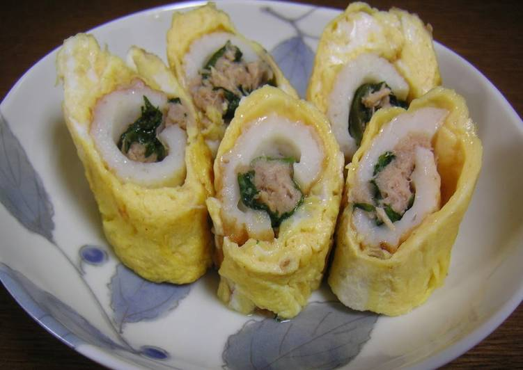 For Bentos: Tamagoyaki  with Tuna and Chikuwa Fish Paste Sticks