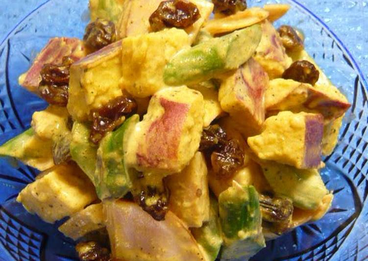 Steps to Make Super Quick Homemade Curry Mayonnaise Salad with Raisins and Asian Sweet Potatoes