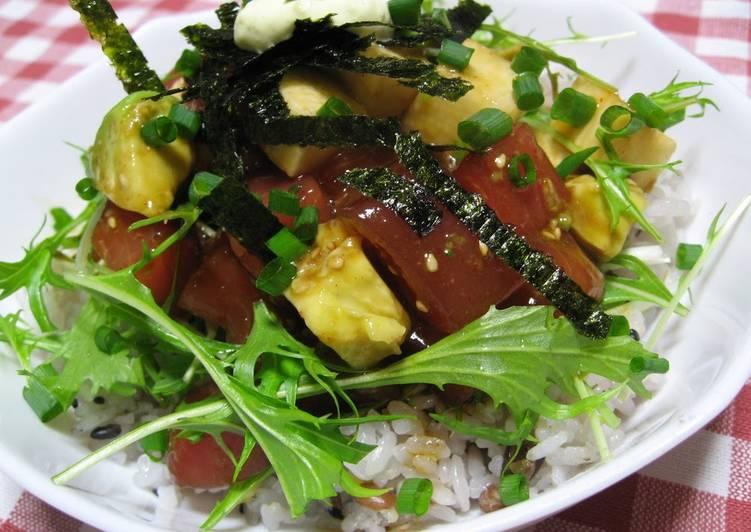 Yukhoe-syle Rice bowl with Tuna, Avocado and Nagaimo