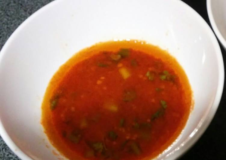 Steps to Prepare Homemade Hot Sriracha Oil Dipping Sauce for hot pot