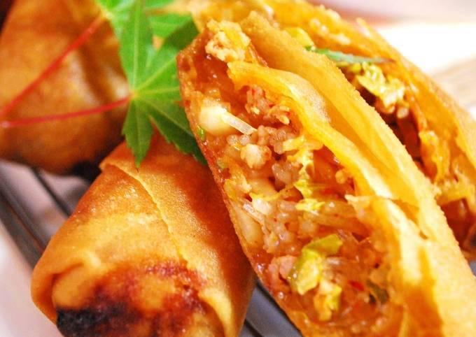 Seriously Tasty Crispy Pork and Kimchi Spring Rolls