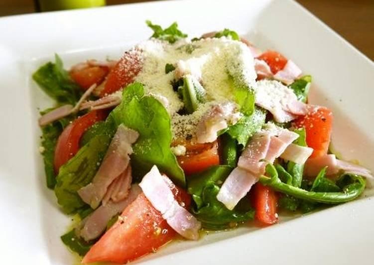 Recipe: Appetizing Tomato Salad with Arugula and Bacon