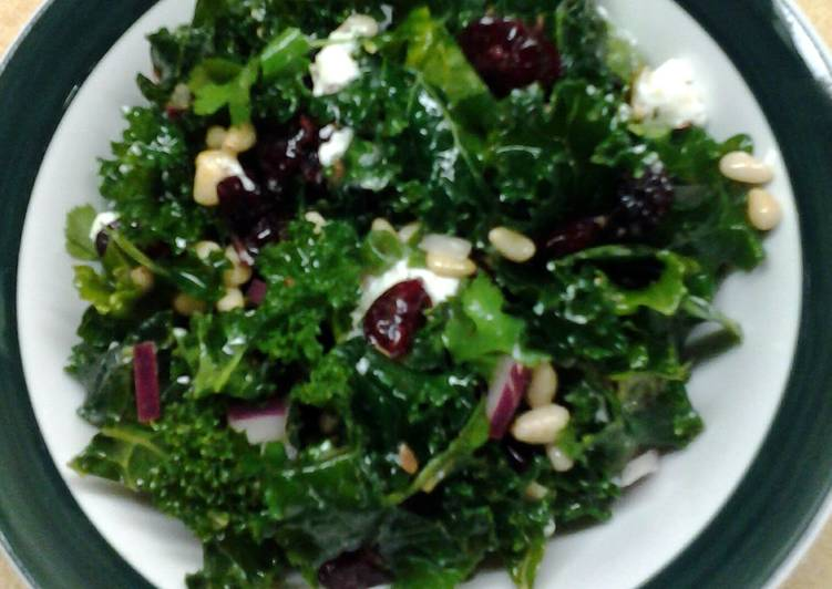 Cranberry Kale Salad with Honey Lemon Vinaigrette