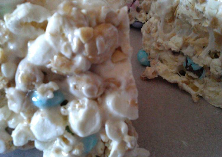 Easy Homemade M & M. - Popcorn Cake Recipe