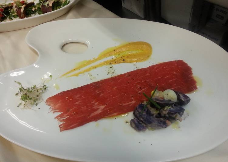 Beef Carpaccio and Papas Hauncaina