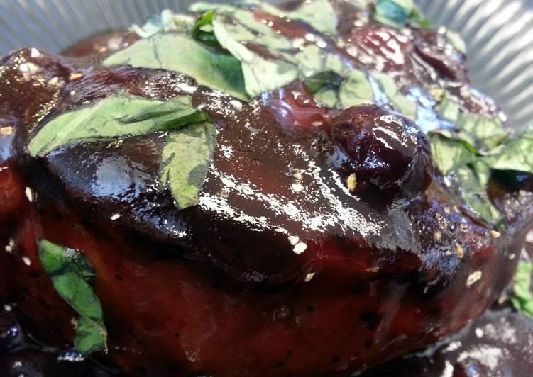 Pomegranate-Blueberry Glazed Pork Chop