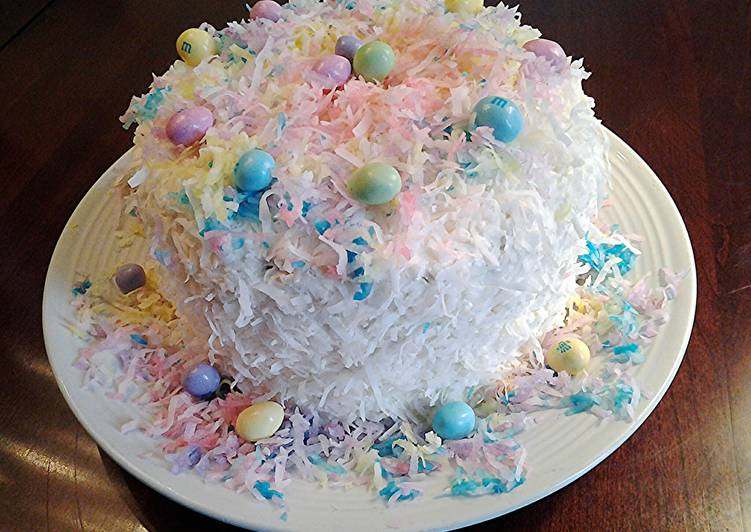 Coconut Cake with colored coconut decorations for any holiday