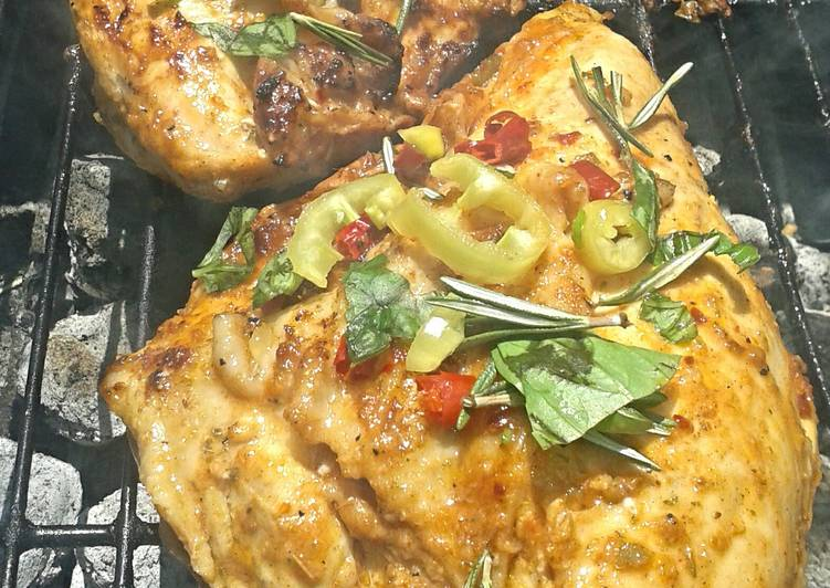 Steps to Prepare Quick Mexican Fiesta Grilled Chicken Breast (bone-in)