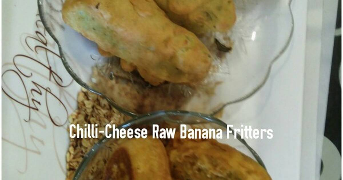 Chilli Cheese Stuffed Potato Raw Banana Fritters Recipe By Jasmin Motta Beingmotta Cookpad