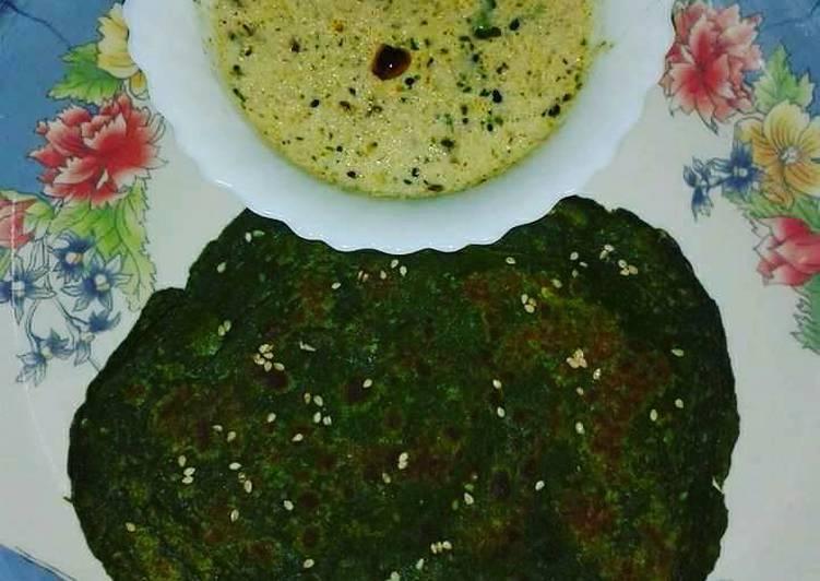 25 Minute Recipe of Spring Methi ka paratha with moongfali dane ki chutney