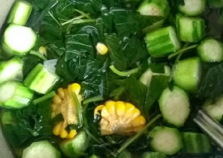 Sayur bening bayam gambas+jagung manis