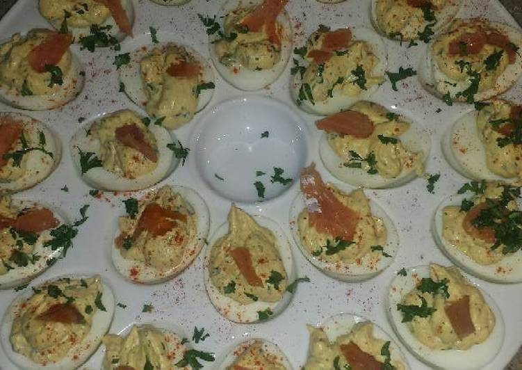 truffle deviled eggs with lox