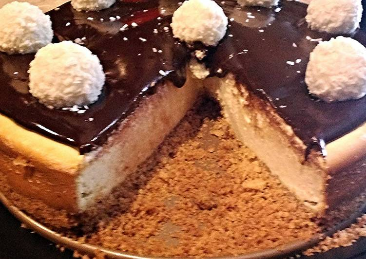 Steps to Prepare Perfect Coconut Cheesecake With Chocolate Ganache