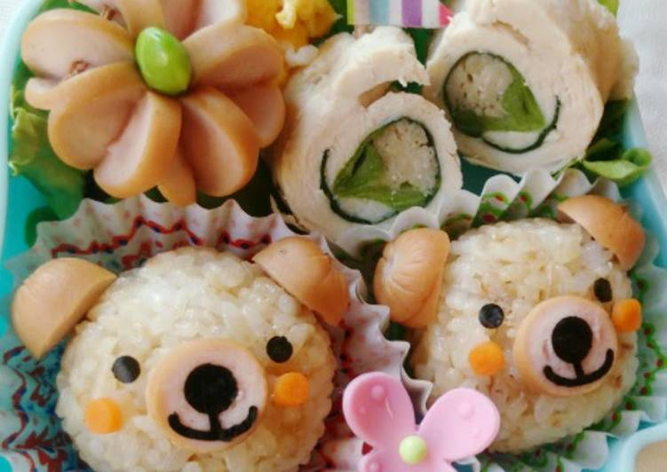 Bear & Flower Bento with 1 Wiener Sausage