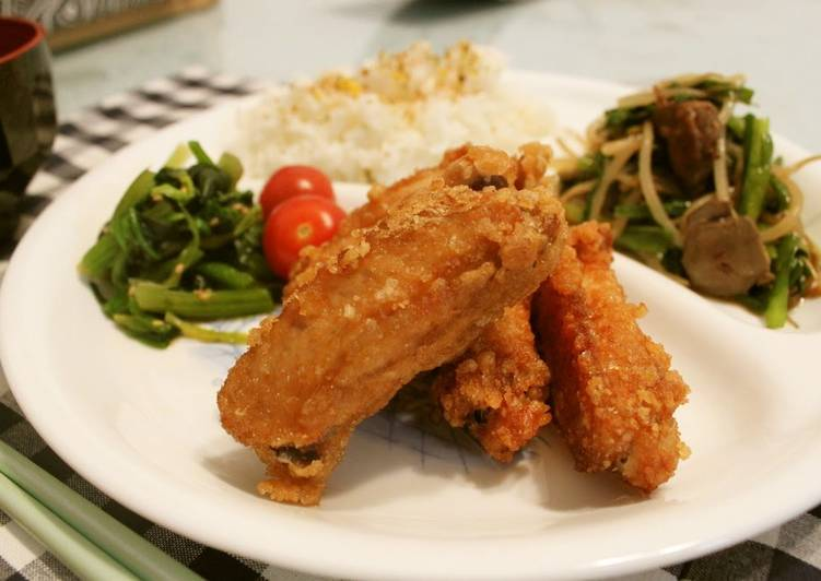 Homemade Chicken Wing Midsection Karaage