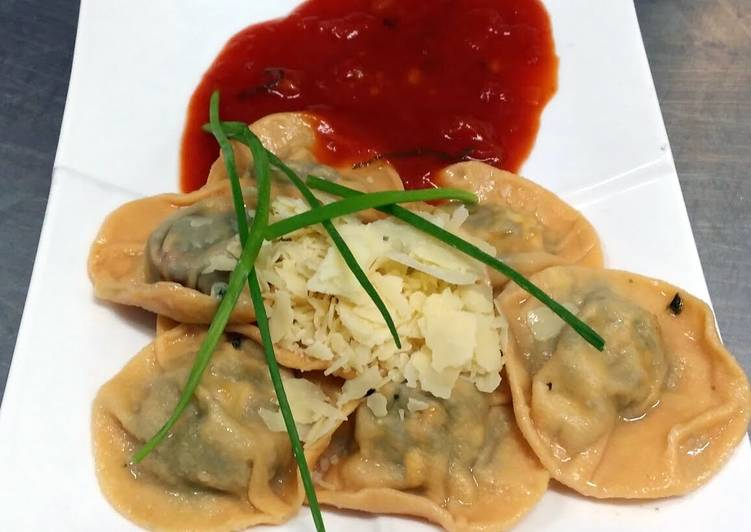 Ravioli with Feta, Herb filling and Fresh Tomato Sauce